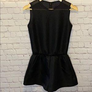 Ochirly black mesh net top high rise shorts romper